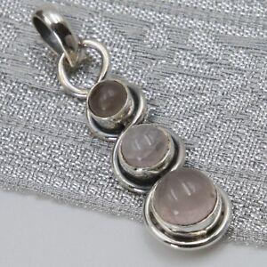 Rosenquarz-Anhaenger-Silber-925-pendant-Rosa-Kettenanhaenger-Sterlingsilber-ts-3
