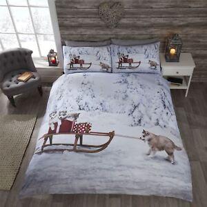 Bettwäschegarnituren Weihnachten Husky Hund Welpen Schlitten Schnee Bäume Weiß Doppel 6 Stück
