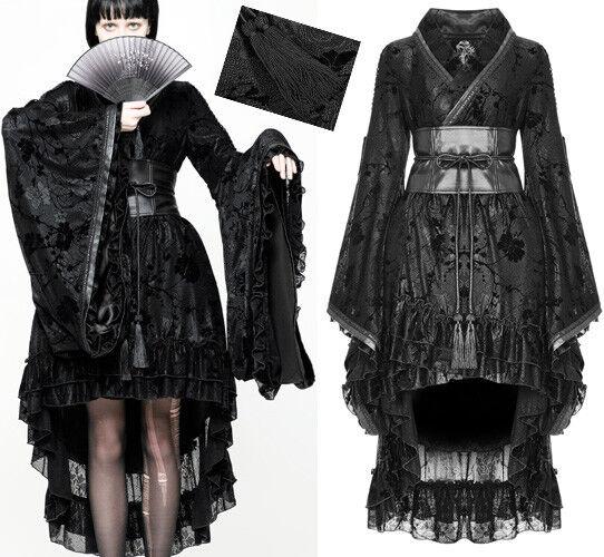 Kimono Kleid Geisha Gothic Lolita Party Spitze gürtel Bommel Japan PunkRave Schw | Shop Düsseldorf