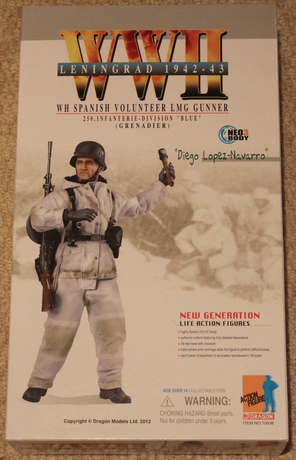 Dragon Action Figure 1/6 ww11 alemán Dragon Diego Lopez 70836 12 En Caja