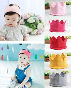 Newborn Baby Girl Boy Kids Knitted Crown Handmade Hat Cap Headband