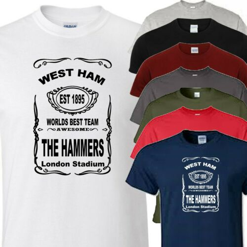 west ham football ground and est design t shirt