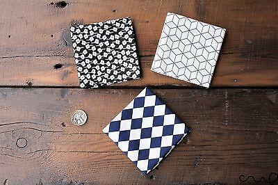 Handmade Men Pocket Square Geometric Cotton handkerchief Wedding Gift D E F