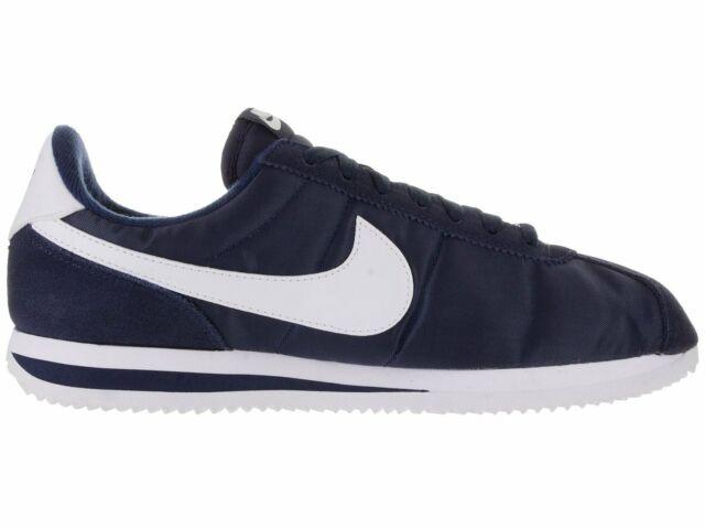 Nike Cortez Basic Nylon Men/'s Shoes Obsidian//White//Metallic Silver 819720-411