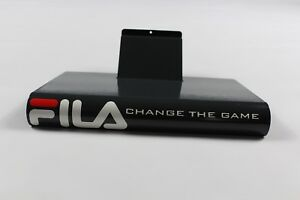 Vintage-90s-New-Fila-Spell-Out-Metal-Single-Shoe-Stand-Display-Holder-Gray