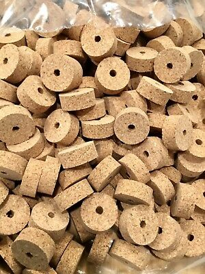 "1 1//4/"" x 1//2/"" x 1//4/"" Hole Cork Rings 36 Burl Mix # 8 Striped!"