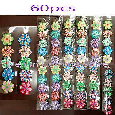 60pcs Baby Toddler Girl Kid Hair Clips Snap Hawaii Flower Hairpin Tic Tac Lot 2""