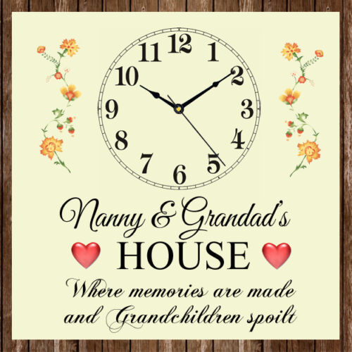 Nanny /& Grandad/'s House Where Memories Are Made Clock Present Gift Mother/'s Day