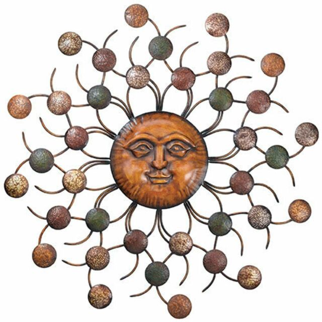 Large Metal Sunburst Modern Wall Art Sculpture Sun Face Indoor ...