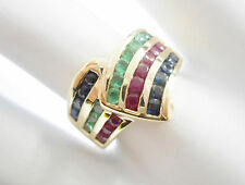 10k Yellow Gold Round Channel Set Sapphire Emerald Ruby Ring Sz 6.75 #2872