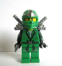 LEGO Ninjago Green Lloyd Ninja Minifigure Figure Silver Armour & Samurai Swords
