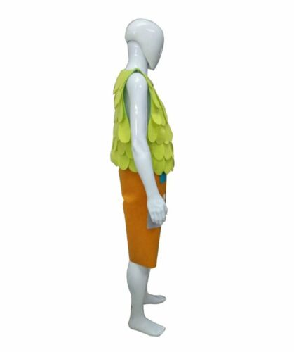 Cosplay Trolls Branch Party Costume Black Stand Wig or Green Vests Orange Pants