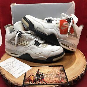 f95c9924d21219 1999 Nike Air Jordan Retro IV White Cement 136013 101 Size 11 Black ...