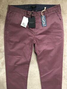 Ted-Baker-Purple-034-Norfolk-034-Slim-Fit-Hose-Hosen-Chinos-34l-NEU-amp-Tags