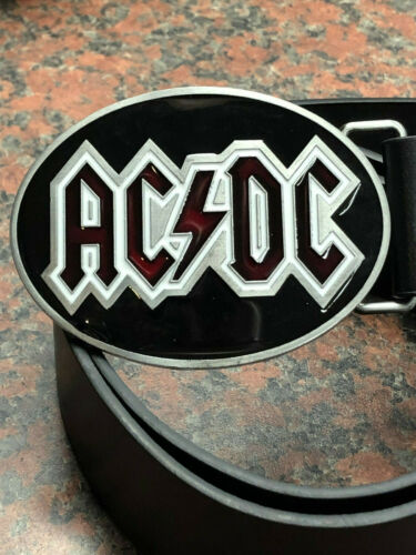 ACDC logo BUCKLE FREE Belt heavy metal rock band Oval western thunderstruck