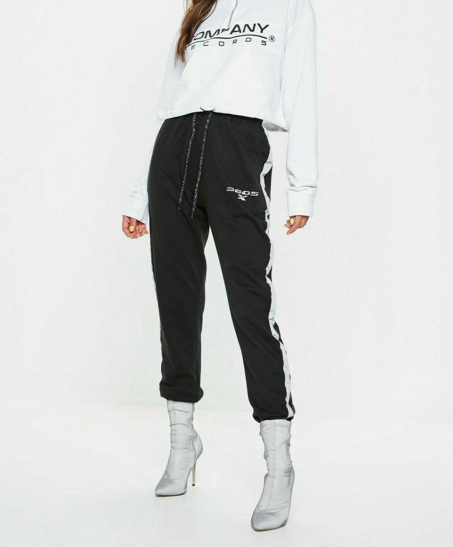 Missguided black Reflektierende greye Streifen Jogginghose Us 2 Eu 34