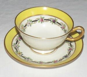 Lenox-Vintage-Cup-amp-Saucer-M-2-B-Yellow-Gold-Flower-Garland