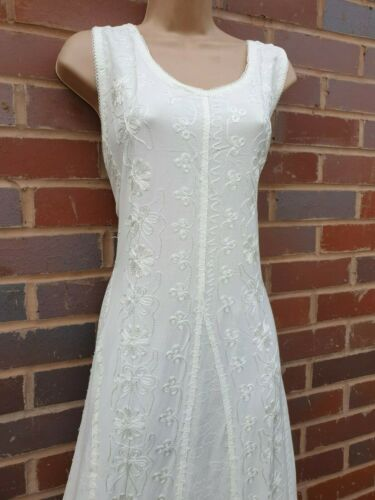 Women Boho Maxi Dress IVORY Sleeveless Embroidered Slimming One Size 14 16 18