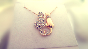 Micro-inlay Cubic Zirconia Gold GP Lovely *Kitten* Cat GP Pendant Necklace