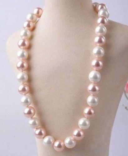 JN217 approx. 45.72 cm 14 mm Blanco y Rosa Sur Mar Concha Perla Collar 18 in