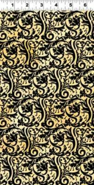 Clothworks Maestro by Barb Tourtillote Y1402 3 MEDIUM TOSSED BLACK Cotton Fabric