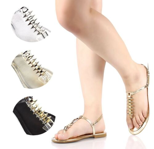 Bamboo Ankle Strap Casual Flats Buckle T-Strap Womens Sandals Shoes Sz 5.5-10