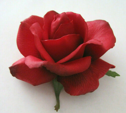 "4/"" Romantic Red Real Touch Rose,Poly Silk Flower Hair Clip,Rockabilly,PinUp,Updo"