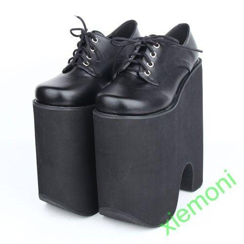 Tacón para mujer Lolita Juegos con disfraces plataforma 22cm Zapatos Club nocturno Fiesta Zapatos 22cm con cordones japonés 646034