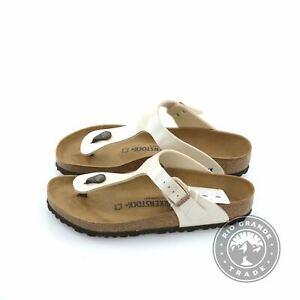 NEW-Birkenstock-GIZEH-BS-Women-039-s-Slides-in-Graceful-Pearl-White-39-EUR-8-8-5