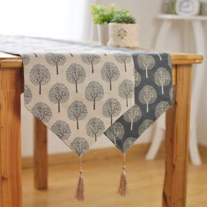Lin-Chemin-de-Table-Irregulier-Decoration-Usine-Imprimee-Table-en-Tissu-Napperon