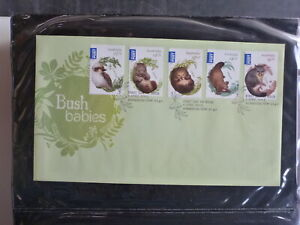 AUSTRALIA-2013-ANIMALS-BUSH-BABIES-SET-5-STAMPS-FDC-FIRST-DAY-COVER