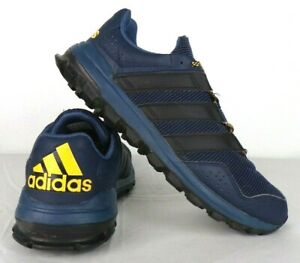 Adidas-Traxion-Running-Shoes-Mens-Size-10-Navy-Blue-Black-Yellow-Supercloud-GUC