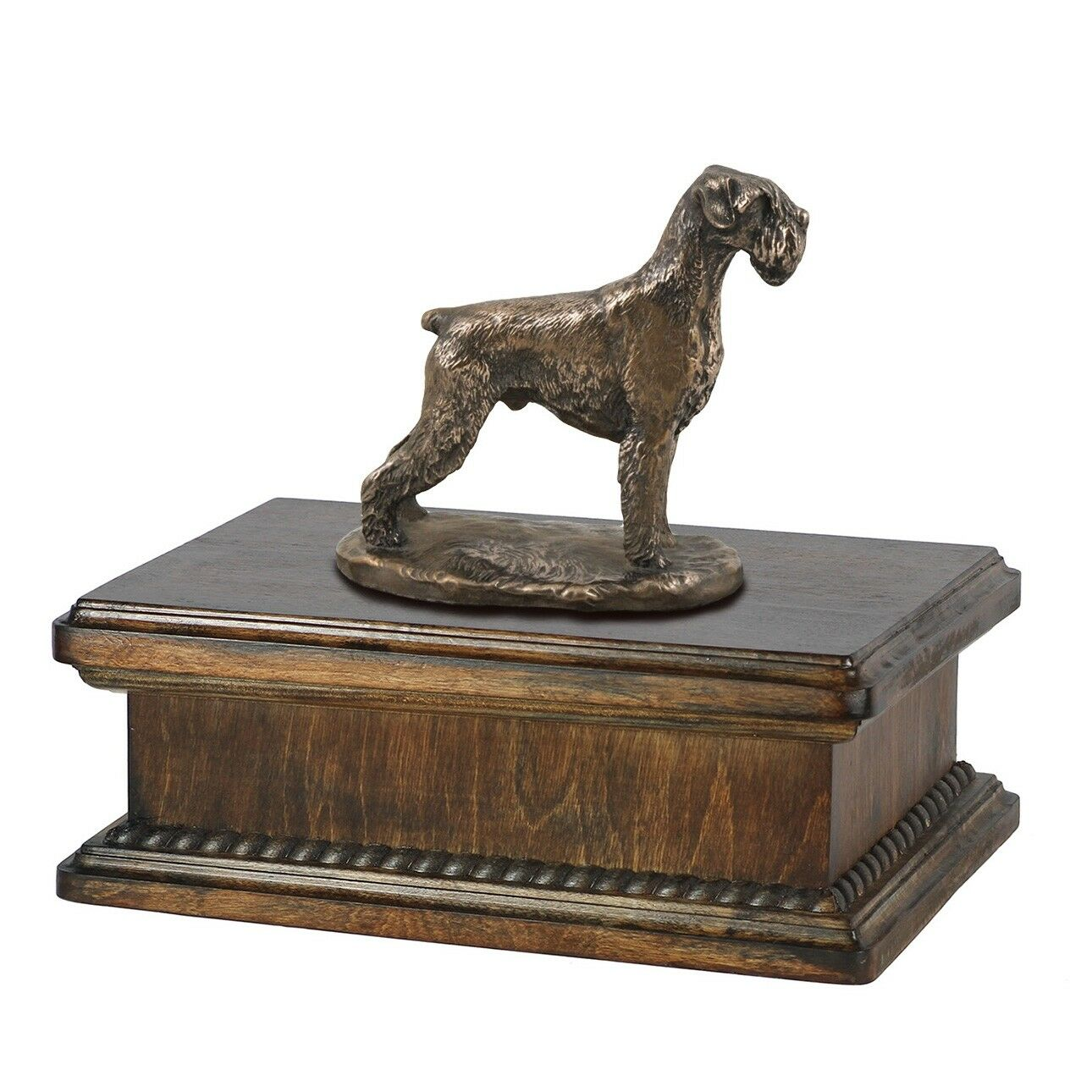 Schnauzer uncropped - exclusive urn with dog statue, High Quality, Art Dog