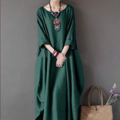 Plus Size Womens 3//4 Sleeve Baggy Long Maxi Dress Cotton Linen Kaftan Dresses US