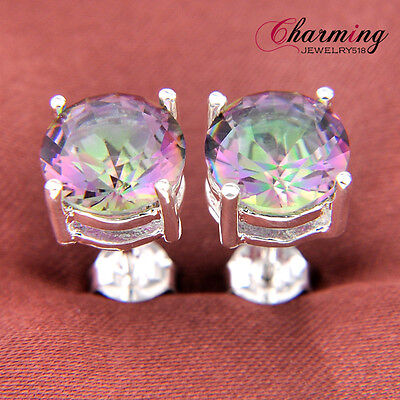 TOP Fashion Fire Rainbow Mystical Topaz Crystal Silver Earrings Jewelry Gift