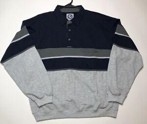 Greenline-International-Men-XXL-Blue-Gray-Striped-Pullover-Sweater-Shirt-Casual