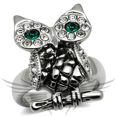 Owl Shaped Top Grade Crystal Cocktail Fashion Ring Sizes 6 7 10 TK657
