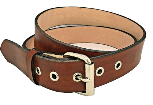 Leather Mens Belt Roller Buckle Reinforced Holes Brown Handmade Fashion Western