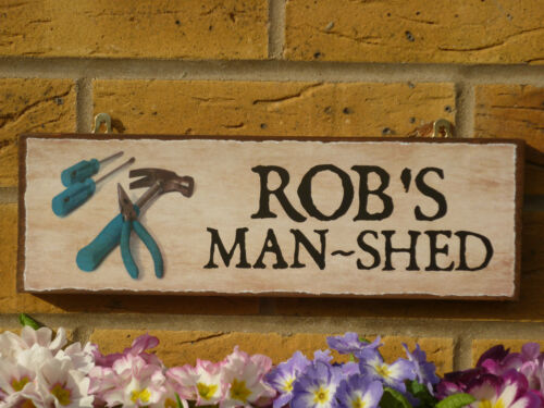 PERSONALISED SHED SIGN OUTDOOR SIGN FUNNY WOODEN SIGN OWN NAME SIGN MENS GIFTS