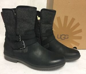 2d2747b0782 Details about Ugg Australia Simmens Black Leather Women Fashion Boot  1008439 Waterproof