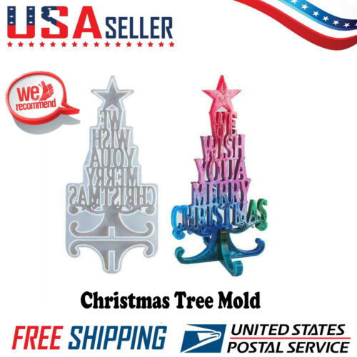 Christmas Tree Silicone Mould Merry Christmas Epoxy Ornament Arts Resin Mold US