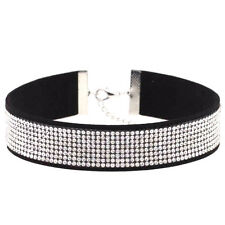Diamante Choker Necklace 8 Rows Rhinestone Silver Black Crystal Party Leather UK