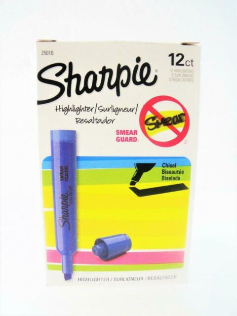 Sharpie Accent Chisel Tip Blue Highlighter w// Smear Guard New 25010 One Dozen