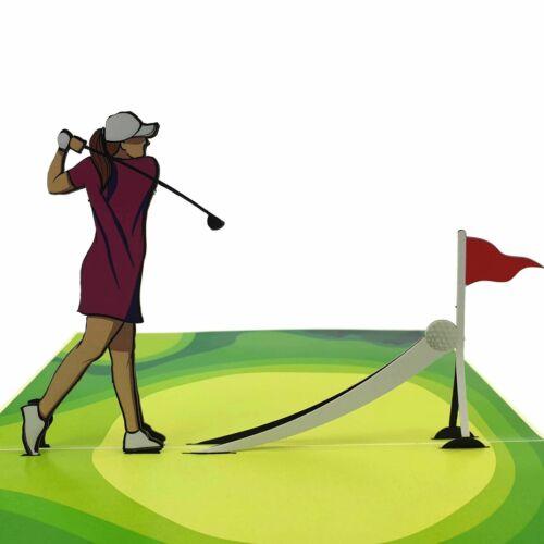 3d pop up card Golfer Lady