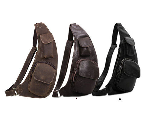 Mens Genuine Leather Shoulder Backpacks Bookbags Messenger Chest Cross Body Bag