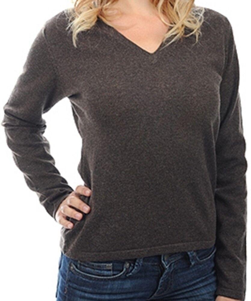 Balldiri 100% Cashmere Damen Pullover 2-fädig V-Ausschnitt dunkelbraun S