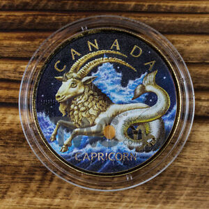 Details about Maple Leaf Zodiac - Capricorn 1 oz BU Silver Coin 5$ Canada  2018