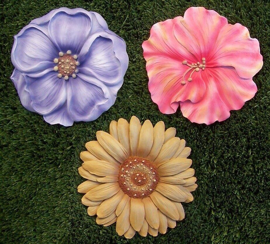 Jardín Sendero peldaño Placa de Parojo Floral Pétalos Conjunto de 3 nuevo 7 1 2