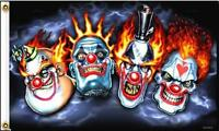 Deluxe Four Clowns Flag Fl528 Scary Clowns 3x5 Circus Flames Item
