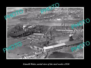 OLD-LARGE-HISTORIC-PHOTO-OF-LLANELLI-WALES-AERIAL-VIEW-OF-STEEL-WORKS-c1930